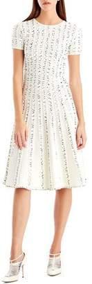 Jason Wu Crewneck Short-Sleeve Printed A-Line Midi Dress