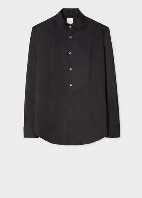Paul Smith Men's Tailored-Fit Black Textured-Bib Cotton Evening Shirt With 'Artist Stripe' Double Cuff