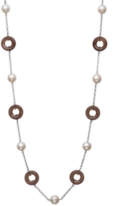 Unbranded Sterling Silver White Freshwater Pearl & Smokey Quartz Station Necklace