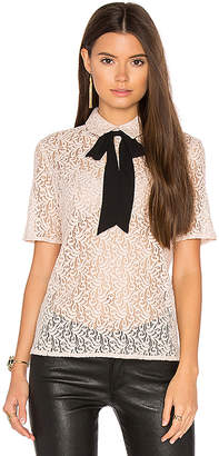 The Kooples Lace Tie Neck Top in Blush $255 thestylecure.com