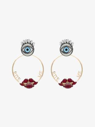 Anton Heunis metallic gold bite me swarovski crystal earrings