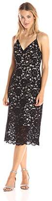 Paris Sunday Women's Cross Back Spaghetti Strap Lace Sheath Dress