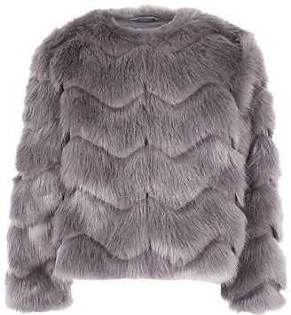 River Island Girls grey faux fur coat