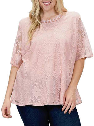 Asstd National Brand Plus Lace Lined Blouse