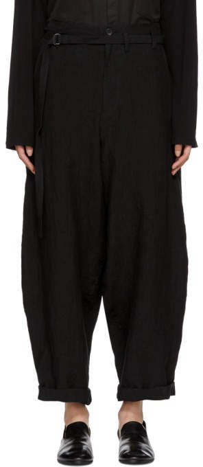 Black Linen Belted Trousers