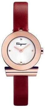 Salvatore Ferragamo Gancino Strap Stainless Steel Leather-Strap watch