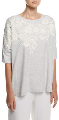 Joan Vass Relaxed Big Tee with Floral Applique, Plus Size