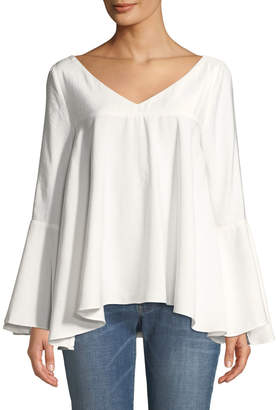 Moon River V-Neck Flowy Blouse Ring-Back Blouse