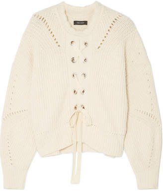 Isabel Marant Lacy Lace-up Pointelle-knit Cotton-blend Sweater - Ecru
