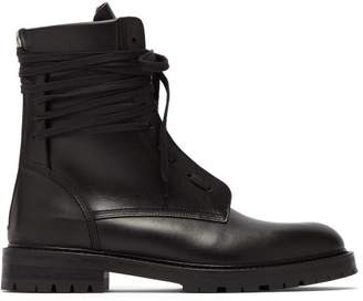 Amiri Leather Combat Boots - Mens - Black