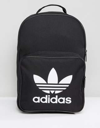adidas Trefoil Backpack In Black With Front Pocket Bk6723
