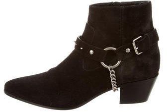 Saint Laurent Saint Laurent Suede Chain-Embellished Booties