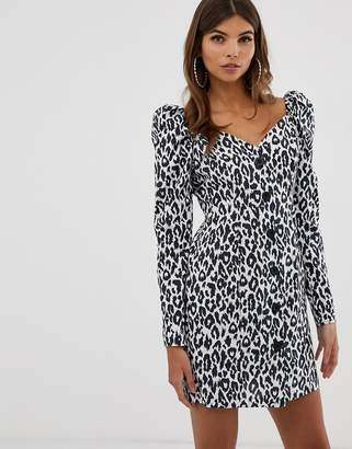 Asos Design DESIGN button through mini dress with long sleeves in mono leopard print