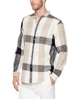 Trimthread Men's Casual Round Collar Button-Up Lightweight Plaid Linen Shirt Long Sleeve Top (