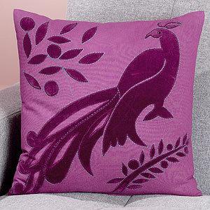 Peacock Toss Pillow, Purple