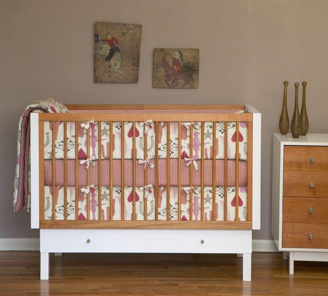 DwellStudio Baby Crib Bedding - Cowgirl in rose