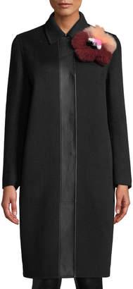 Fendi Dyed Fur Embellished Wool Coat