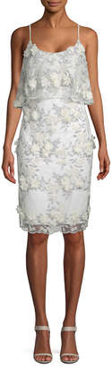 Badgley Mischka Lace And Floral Applique Sheath