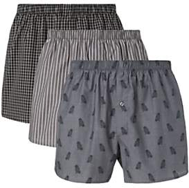 Owl Organic Cotton Chambray Boxers, Pack of 3, Grey