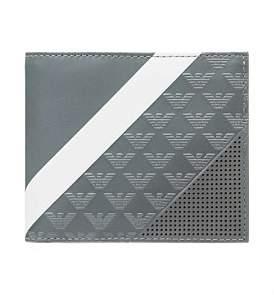 Emporio Armani Linea Minorca Stripes 4Cc Billfold Wallet W/ Coin Pouch