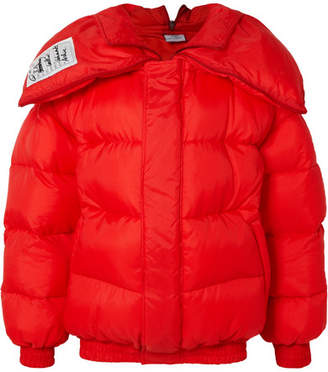 Oversized Appliquéd Quilted Shell Jacket - Red