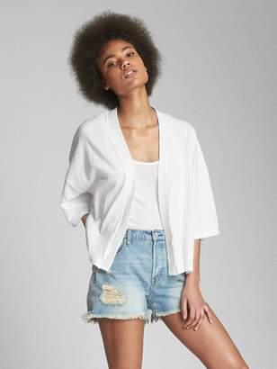 Gap Short Sleeve Crinkle Open-Front Cardigan