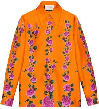 Gucci Rose Garden print silk shirt