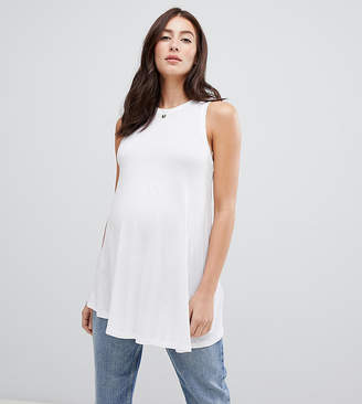 Asos DESIGN Maternity swing vest in white