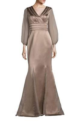 Kay Unger New York Sheer Sleeve Gown