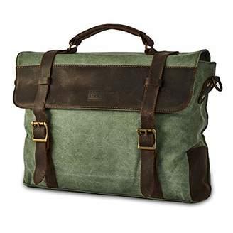 BRASS TACKS Leathercraft Men's Heavy Duty Canvas Genuine Leather Vintage Buckle Strap Briefcase Messenger Bag