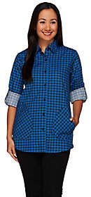 Joan Rivers Classics Collection Joan Rivers Houndstooth Boyfriend Shirtw/ Long Sleeves