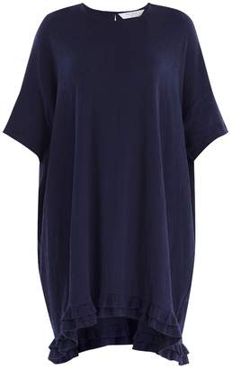 PAISIE - Relaxed Fit Cotton Dress with Ruffled Dip Hem in Navy