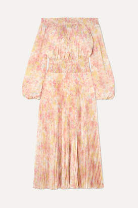Prada Off-the-shoulder Shirred Floral-print Plissé-satin Maxi Dress - Yellow