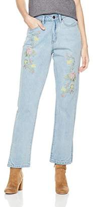 Parker Lily Women's High Waist Rose Embroidered Relaxed fit Straight-Leg Jeans