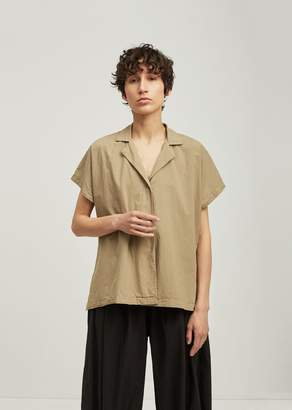 Black Crane Box Open Front Cotton Shirt