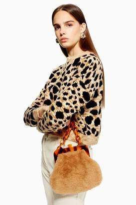 Topshop Leopard Cropped Jumper