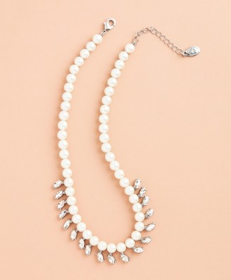 Brooks Brothers Glass Pearl and Rhinestone Necklace