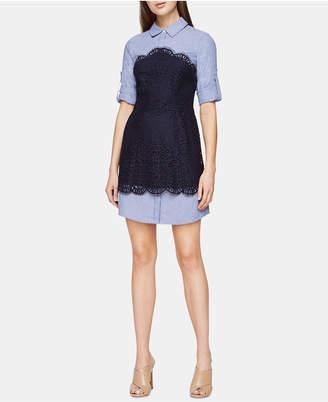 BCBGMAXAZRIA Layered-Look Lace Shirtdress