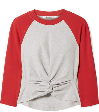 Alexander Wang Twist-front Two-tone Cotton-jersey Top - Red