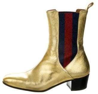 Gucci Chelsea Metallic Web Boots