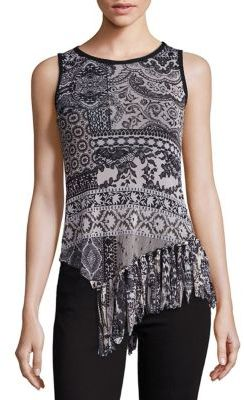 Fuzzi Mosaic-Print Fringed Tank Top $465 thestylecure.com