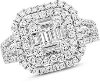 Zales 1-5/8 CT. T.W. Composite Diamond Double Octagonal Frame Split Shank Engagement Ring in 18K White Gold (H/SI2)