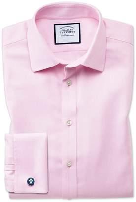 Charles Tyrwhitt Slim Fit Non-Iron Step Weave Pink Cotton Dress Shirt Single Cuff Size 17.5/34