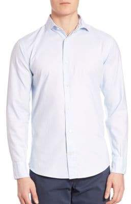 Eleventy Micro Dot Cotton Button-Down Shirt