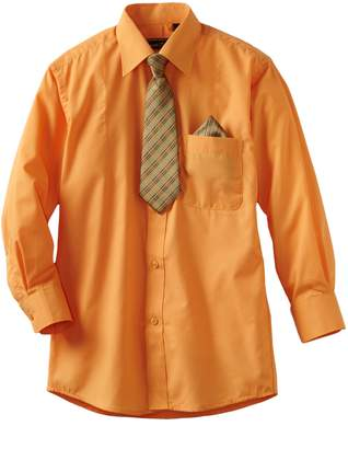 American Exchange Big Boys' Dress Shirt with Tie and Pocket Square
