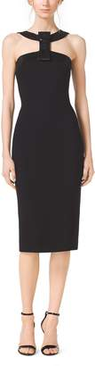 Michael Kors Beaded-Bow Stretch Boucle-Crepe Dress