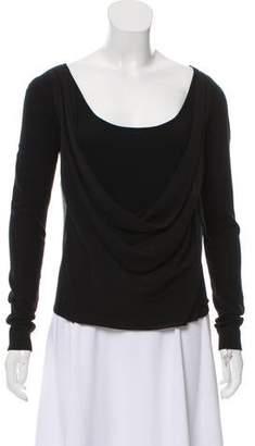 Donna Karan Long Sleeve Silk Top