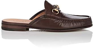 Gucci Men's Horse-Bit Leather Slippers - Brown
