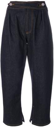 Fendi faux-pearl embellished cropped jeans