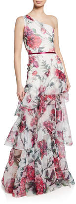 Marchesa Floral Organza One-Shoulder Sleeveless Gown w/ Cascading Ruffle Trim